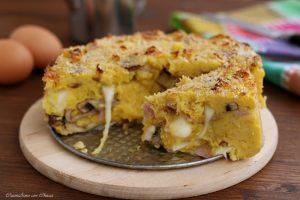 Torta di patate con funghi e scamorza