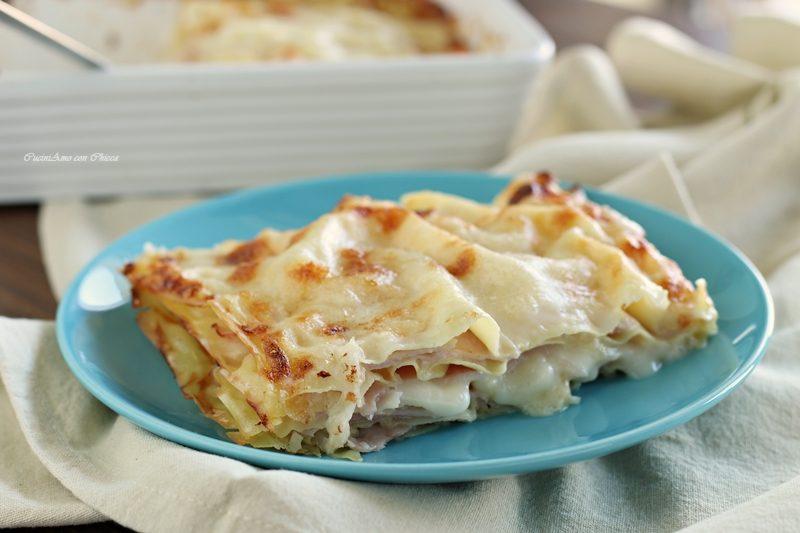 Lasagna con prosciutto cotto e mozzarella