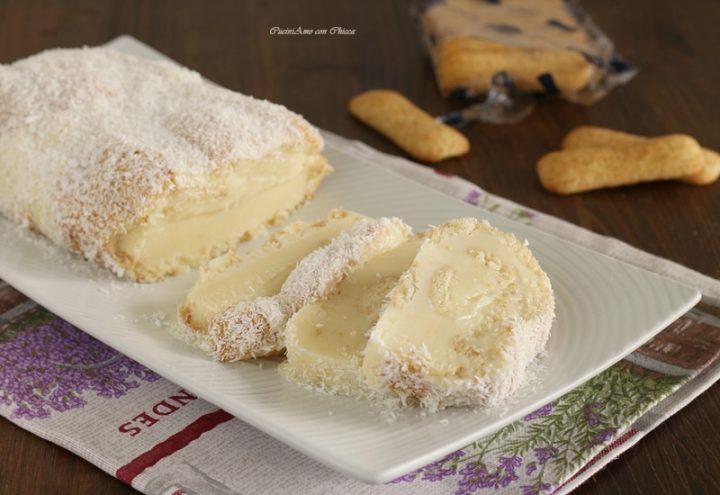 Rotolo di pavesini con crema al limone e cocco