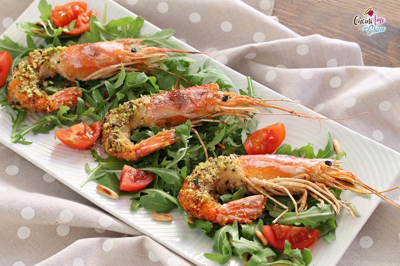 Gamberoni con panure di pistacchi e paprika