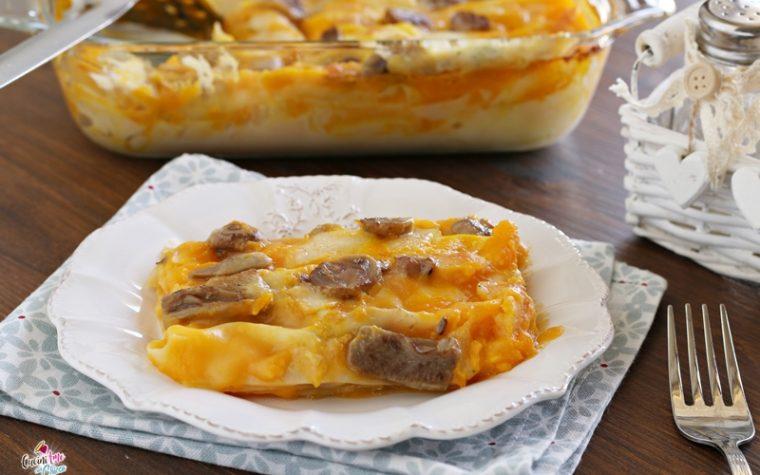 Lasagne con crema di zucca e funghi