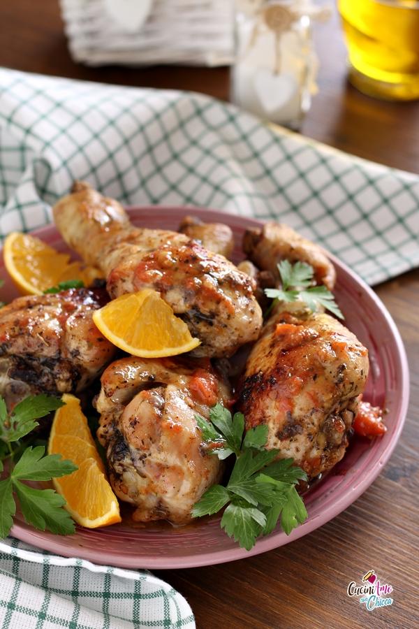 Cosce di pollo all'arancia e paprika