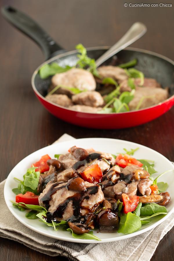 Filetto di maiale con funghi e aceto balsamico
