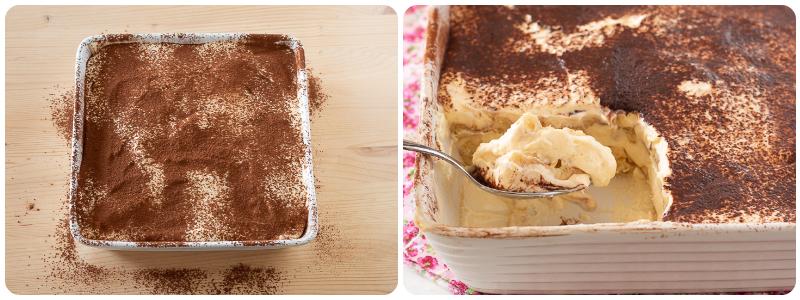 Formate più strati fino ad esaurimento degli ingredienti, in fine spolverate la superficie con abbondante cacao.  Se cercate la versione del tiramisù con le uova pastorizzate la trovate qui!