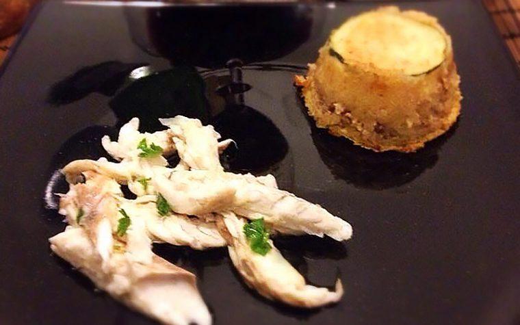 Orata al sale con tortino di patate alle noci