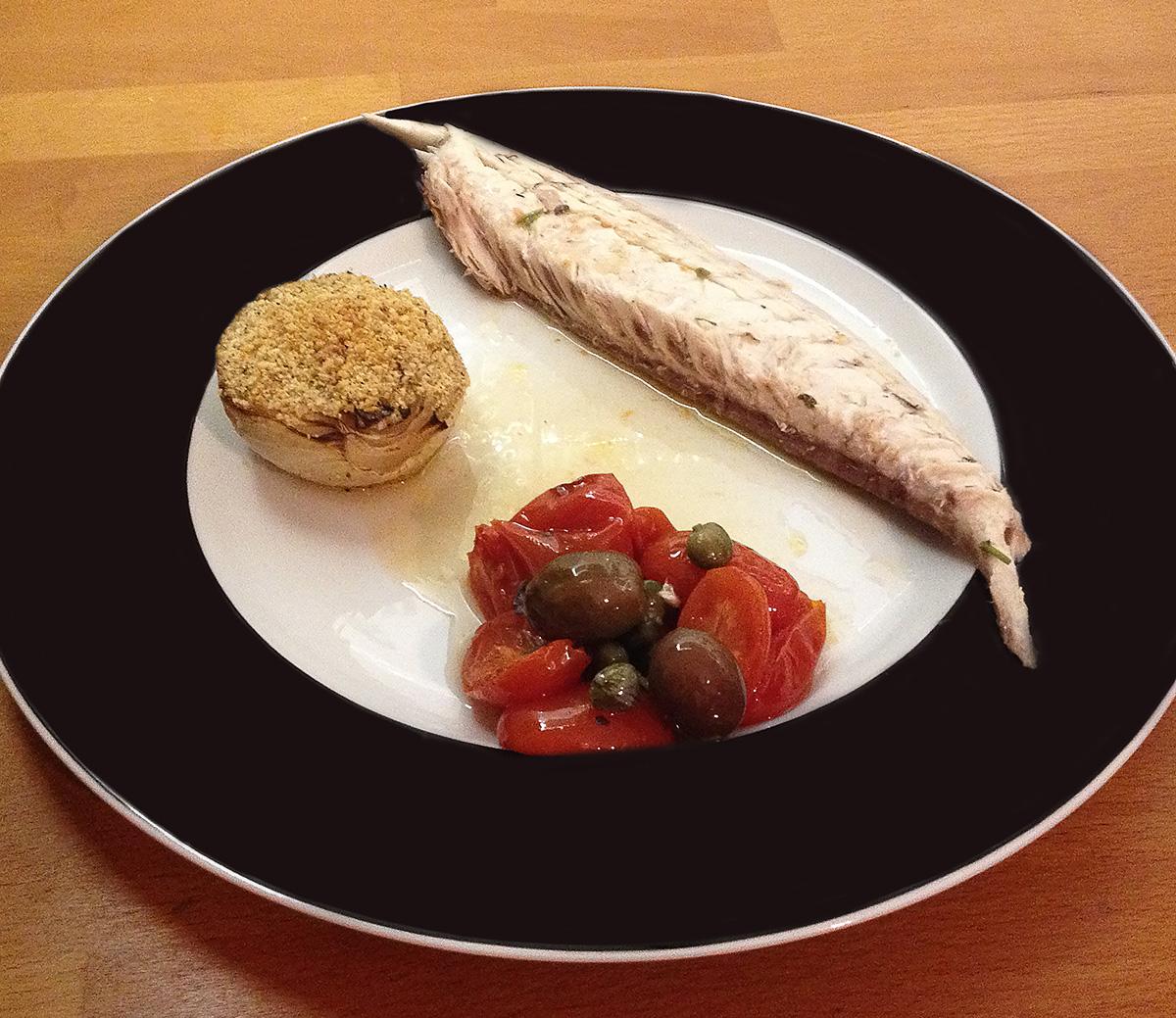 Ricciola al forno con pomodorini e olive