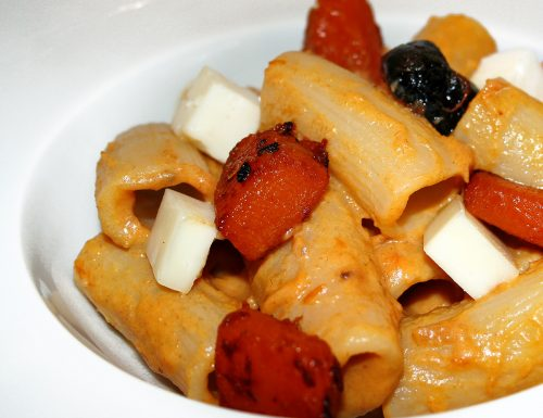 Rigatoni olive zucca e pecorino fresco