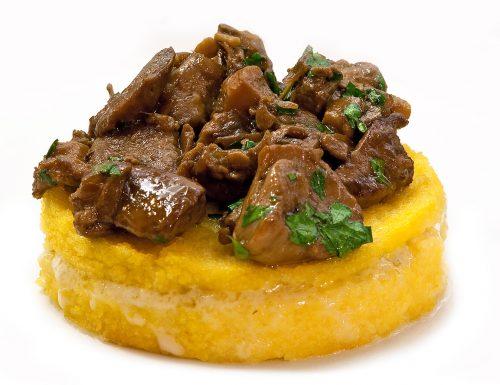 Polenta al forno con gorgonzola e porcini