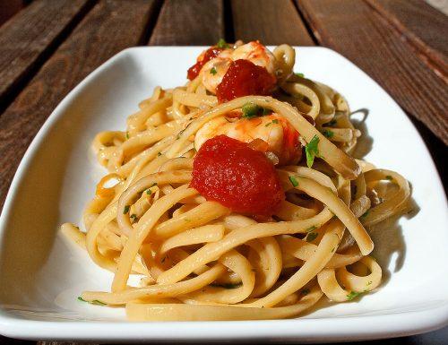 Linguine risottate con gamberi rossi e colatura di alici