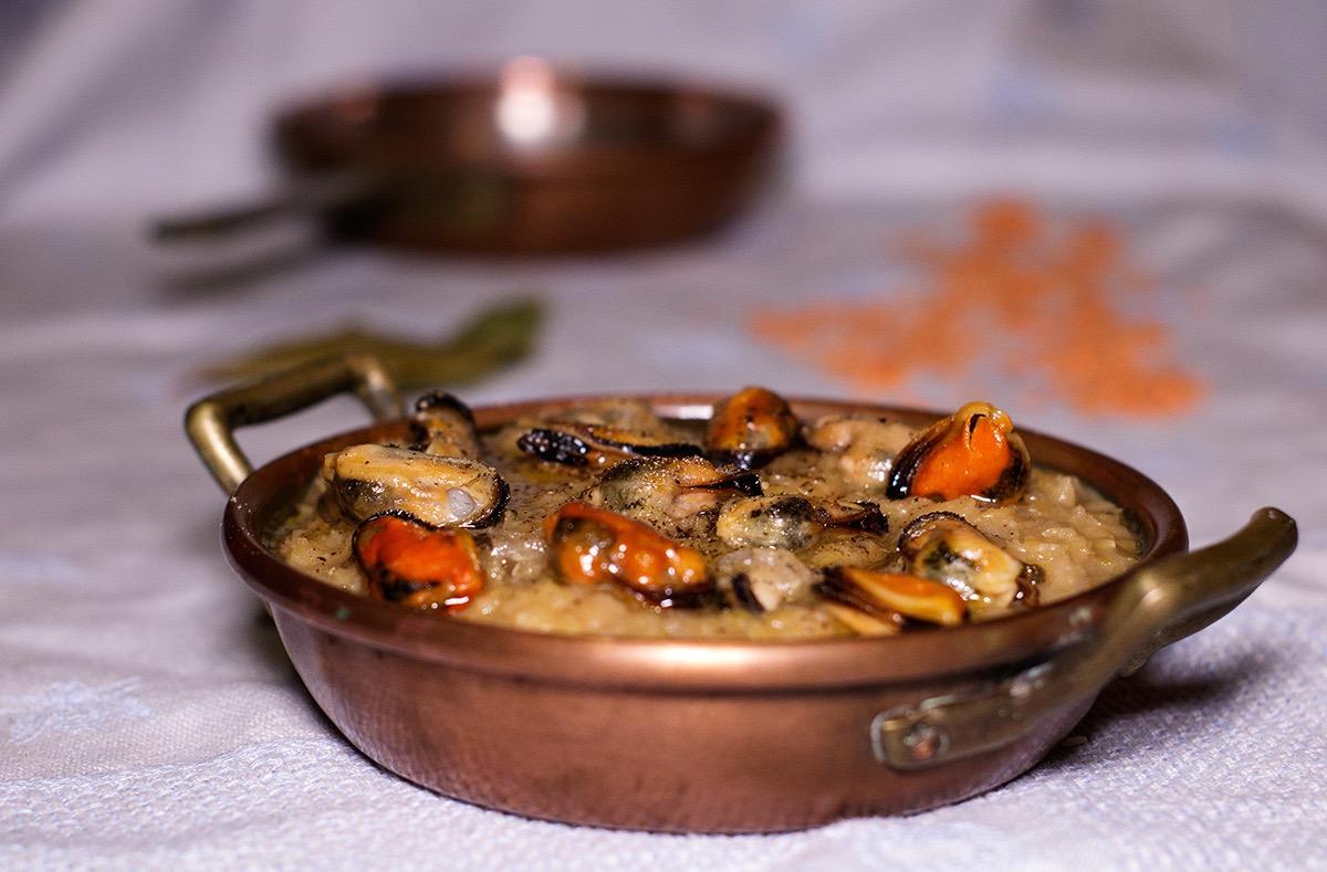 Zuppa di lenticchie rosse e cozze