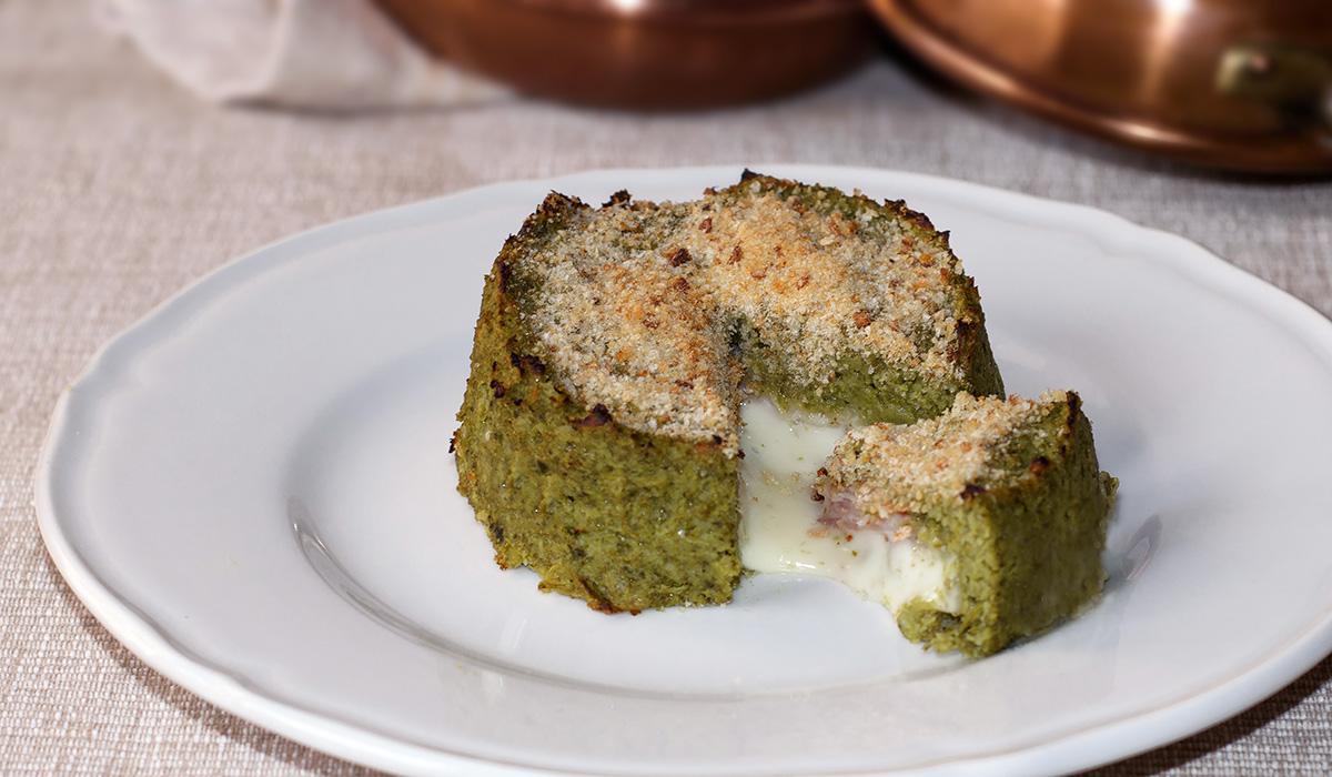 Tortino di broccoli con emmental e prosciutto