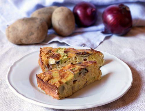 Frittata al forno di patate, zucchine e cipolle