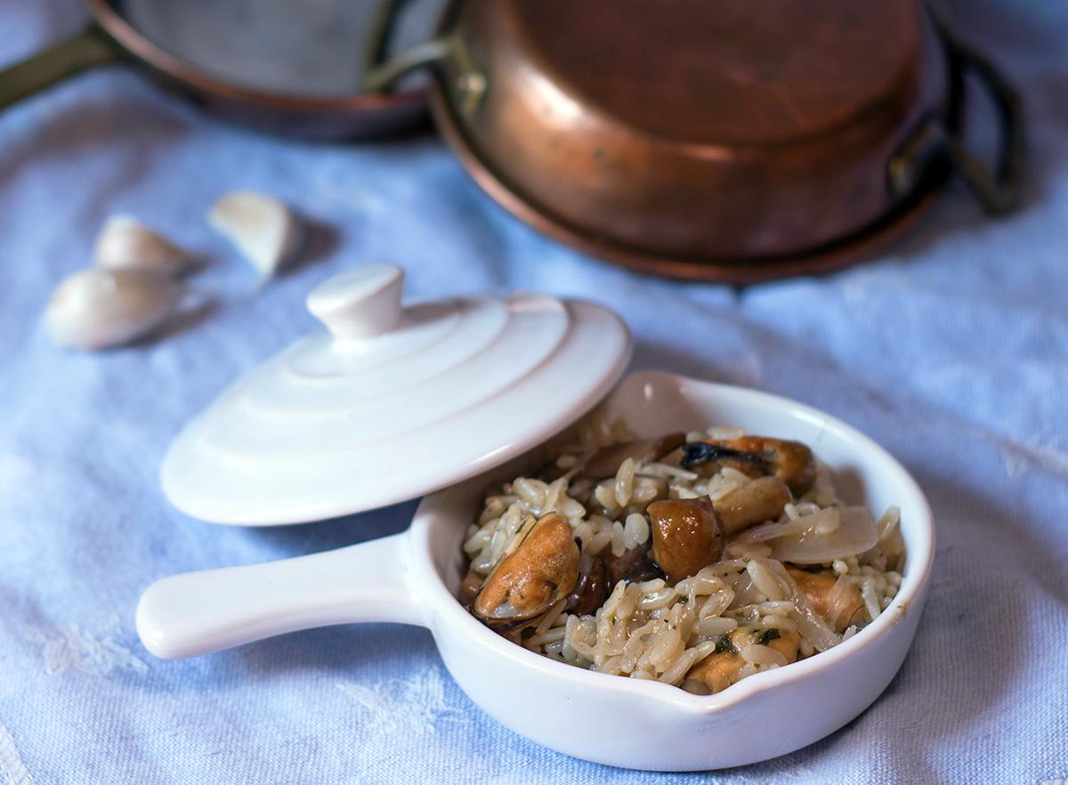 Risotto con funghi e cozze