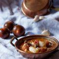 Code di rana pescatrice in brodetto con pomodorini, capperi e olive