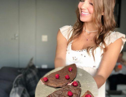 Crêpes fit al cacao e lamponi