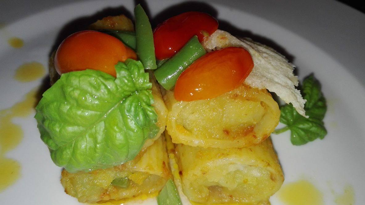Paccheri Ripieni con crema di patate e fagiolini