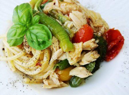 Spaghetti alla Chitarra con tonno e Friggitelli