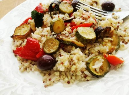 Cereali, Quinoa e Grano Saraceno con Verdure al forno