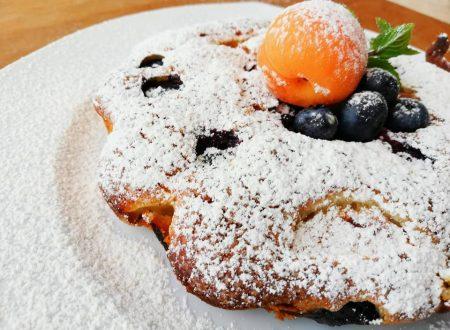 Torta soffice con albicocche, mirtilli e ricotta