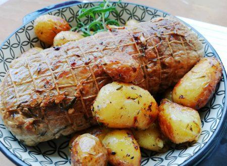 Lonza di maiale al forno con patatine novelle