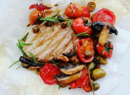 Tonno alla griglia con verdure trifolate