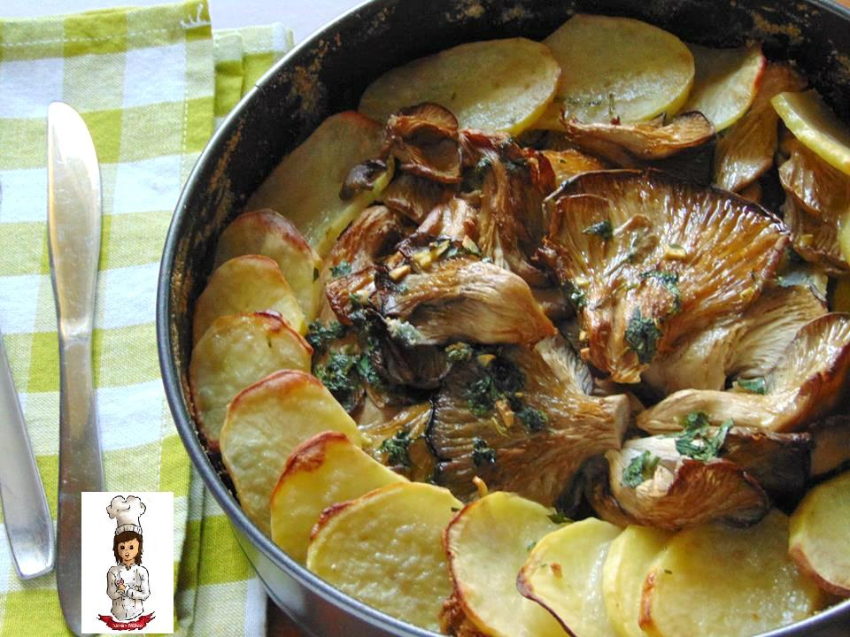 Patate e funghi al forno