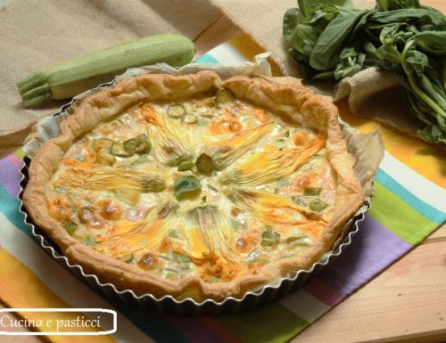 Torta salata con fiori di zucca e primo sale