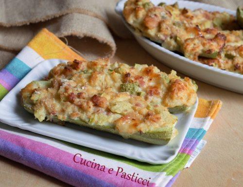 Zucchine ripiene con pane e pancetta