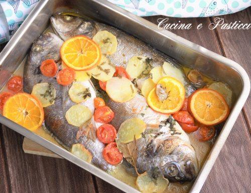 Orate al forno con verdure e arance