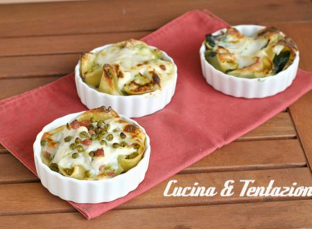 Lumaconi ripieni per tutti i gusti (Ricotta e Spinaci – piselli e prosciutto – zucchine e gorgonzola)
