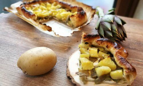 Torta salata patate e carciofi