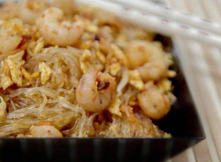 Spaghetti di soia con gamberetti