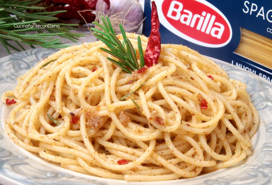 Pasta con la mollica aglio olio e peperoncino for Barilla ricette