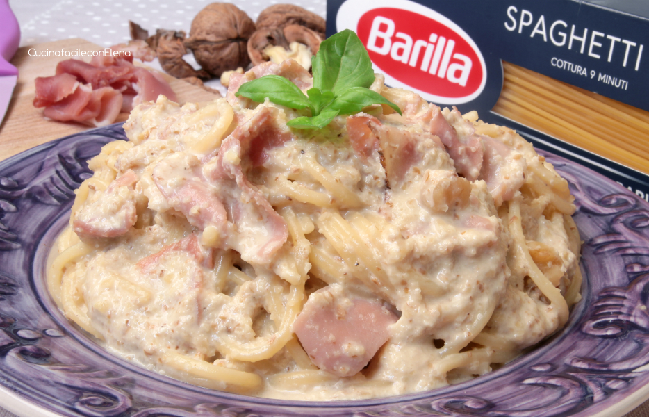Pasta con crema di noci e speck primo cremoso for Barilla ricette
