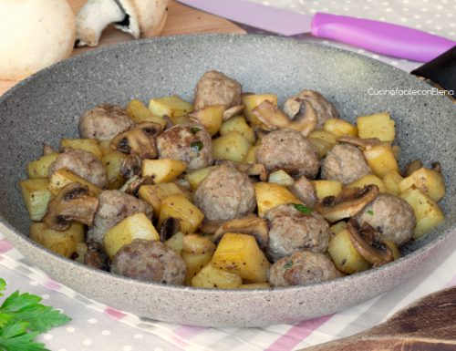 Polpette con Patate e Funghi in padella