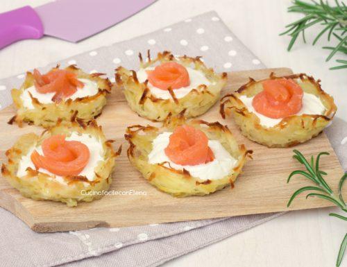 Cestini di patate e salmone cremosi