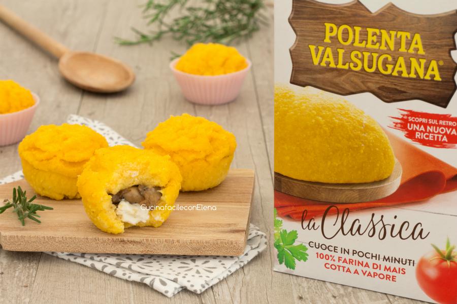 Muffin di polenta con funghi e stracchino