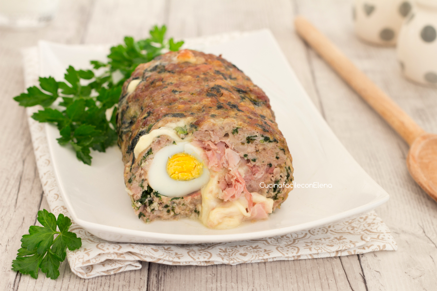 Polpettone di carne e spinaci farcito