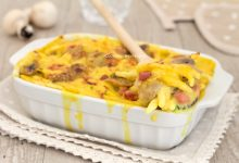Trofie al forno con crema allo zafferano funghi e pancetta