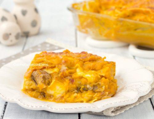 Lasagne con crema di zucca speck e funghi
