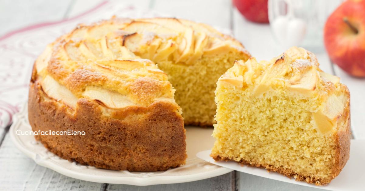 Torta mele e cocco sofficissima senza burro senza sbattitori o frullini elettrici