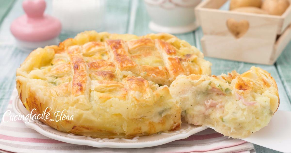 Crostata di sfoglia alle patate salata senza uova e senza burro cremosa filante e deliziosa
