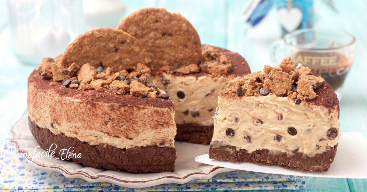 Cheesecake cookie al caffè torta fredda cremosa senza cottura senza burro e senza colla di pesce