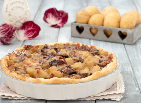 Torta salata al radicchio con funghi e patate