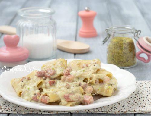 Pasta con crema di burrata speck e pistacchi