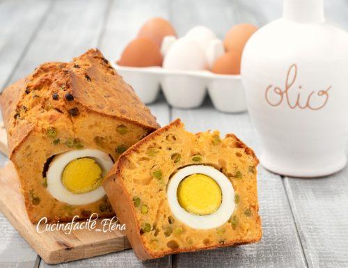 Plumcake con uova sode e piselli