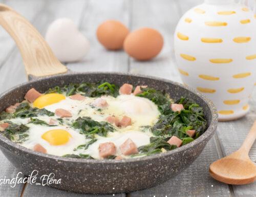 Uova con spinaci e prosciutto