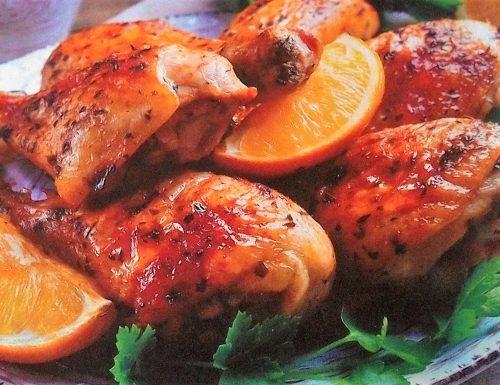 Cosce di pollo paprika e arancia
