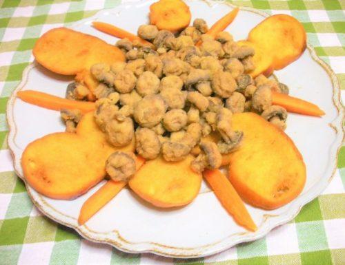 Funghi champignon e pane fritto