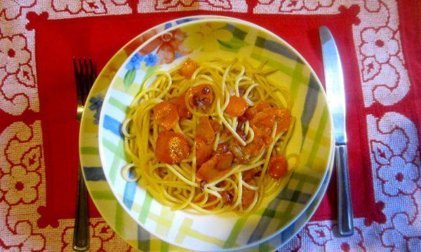 Vermicellini con carote e pancetta